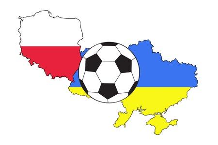 uefa: Fu�ball mit Flaggen von Polen und der Ukraine