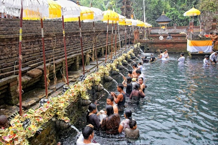 purification: TAMPAK SIRING, BALI, INDONESIA - OCTOBER 30: People praying at holy spring water temple Puru Tirtha Empul during purification ceremony on October 30, 2011 in Tampak Siring, Bali, Indonesia Editorial
