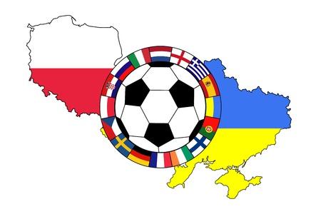 vector van voetbal bal met vlaggen contouren van Polen en Oekraïne Stock Illustratie