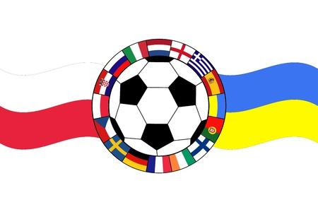uefa: Vektor der Fu�ball-Ball mit Fahnen von Polen und der Ukraine Illustration
