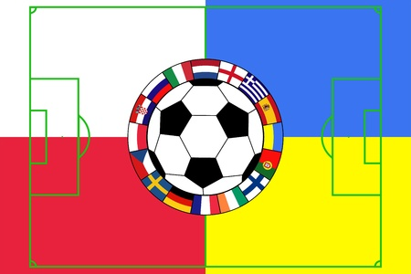 uefa: vector of football ball with field and flags of Poland and Ukraine