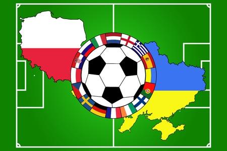 uefa: Vektor der Fu�ball-Ball mit Feldern, Fahnen und Konturen von Polen und der Ukraine