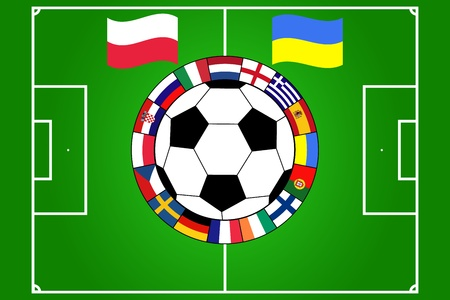 vector of football ball with field and flags of Poland and Ukraine Vector