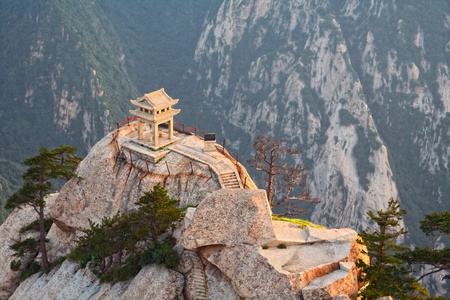 stone pagoda on the East Peak of the holy mountain HuaShan