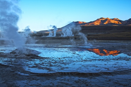 high desert: Geyser field El Tatio in Atacama region, Chile