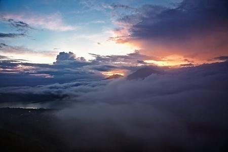 sunrise from mount Batur, Bali Stock Photo - 13254569