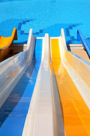 water slide with pool photo