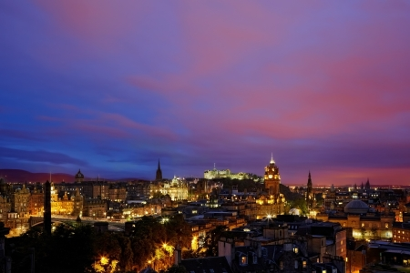 sunset over night Edinburgh, Scotland photo