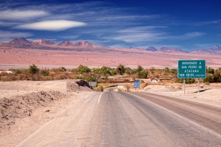 entrance road to San Pedro de Atacama, Chile