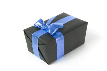 blue gift box: black gift box with blue ribbon