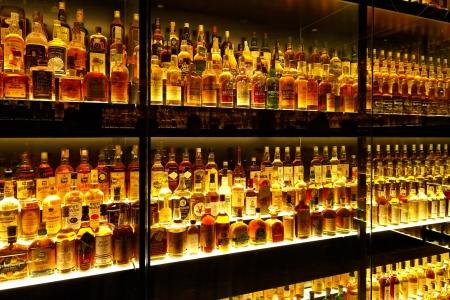 beverage display: EDINBURGH, SCOTLAND - JULY 10:  Diageo Claive Vidiz collection, the largest Scotch Whisky collection in the world on July 10, 2012 in Edinburgh, Scotland, UK Editorial