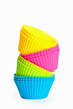 bakken siliconen cups voor cupcakes of muffins