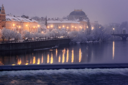 winter theater: Smetanovo Embankment and Prague National Theatre  Stock Photo