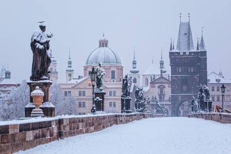 Charles bridge in winter, Prague photo
