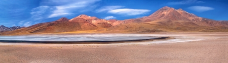 atacama: panorama of lagoon Miscanti and volcano Miniques