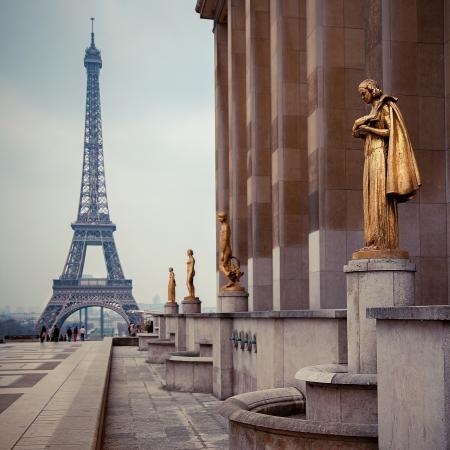 uitzicht vanaf Trocadero op Eiffeltoren, Parijs