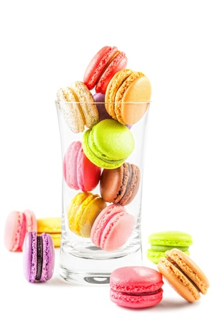 french colorful macarons in a glass photo