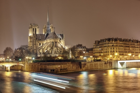 night panoramic view of Cite island with cathedral Notre Dame de Paris