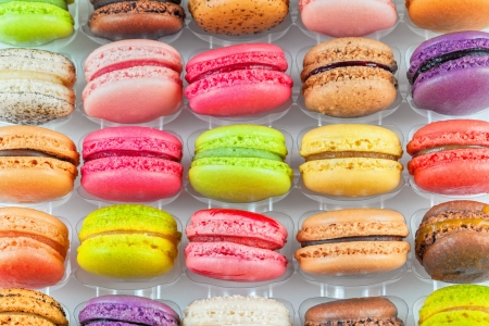 traditional french colorful macarons in a box photo