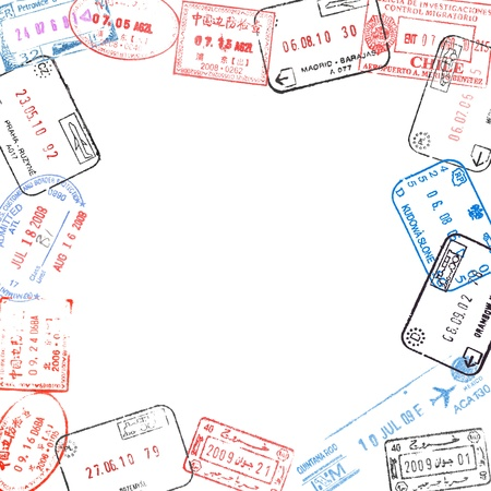stamp passport: frame from passport visa stamps