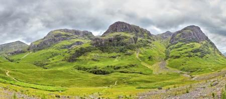 panoramic view of the Three Sisters of Glencoe, Scotland photo