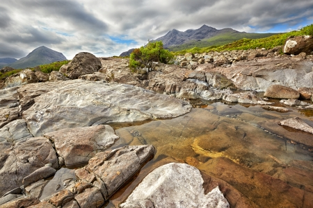 view on Sgurr nan Gillean, Am Basteir and Sgurr a Bhasteir from Sligachan River, Isle of Skye, Scotland photo