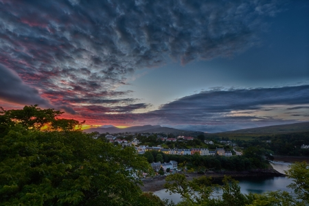 isle: aerial view on Portree before sunset, Isle of Skye, Scotland