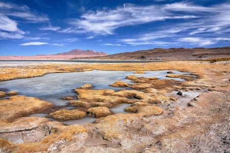 tara: view on salt lake Salar de Tara, desert Atacama, Chile Stock Photo