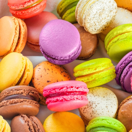 traditional french colorful macarons in a rows in a box Stock Photo