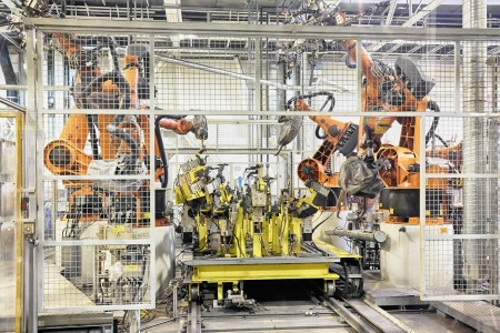 assembly line: robots in a car factory