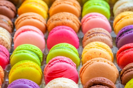 macaron: traditional french colorful macarons in a rows in a box Stock Photo