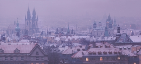 Prague towers before dawn in winter, Czech Republic photo