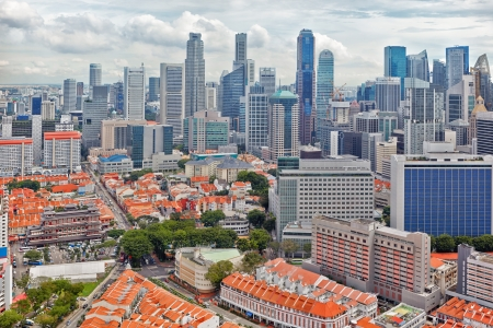 aerial view on downtown and Chinatown of Singapore photo