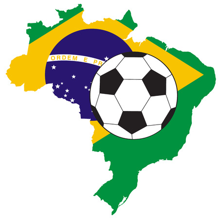 vector of soccer ball with map and flag of Brazil Vector