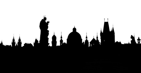 praha: Prague towers silhouettes Stock Photo
