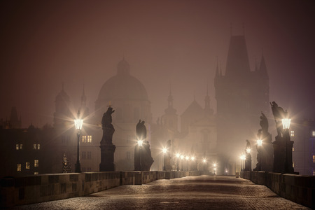 foggy Charles Bridge before dawn, Prague, Czech Republic photo