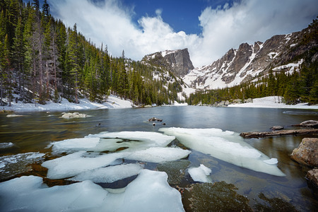 dream lake: Dream Lake at the Rocky Mountain National Park, Colorado, USA Stock Photo