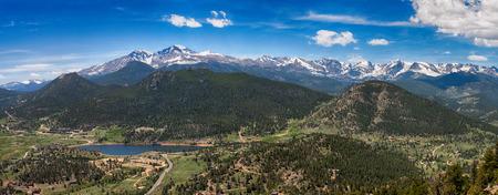 Panoramisch uitzicht op de Rocky Mountains, Colorado, Verenigde Staten Stockfoto