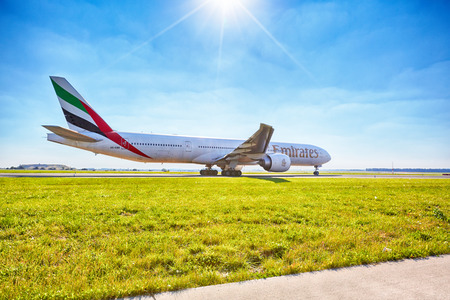 Emirates Boeing 777-31H ready for take off from Prague Airport