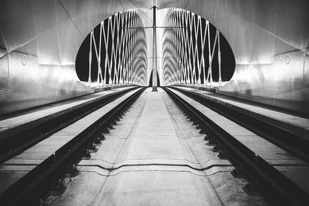 bowstring: night view of Troja bridge, Prague Stock Photo