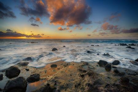 colorful sunrise: colorful sunrise from Sandy Beach, Oahu, Hawaii, USA Stock Photo