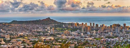 beach view: panoramic view of Waikiki and Diamond Head from Tantalus lookout in the Puu Ualakaa State Park, Honolulu, Oahu, Hawaii