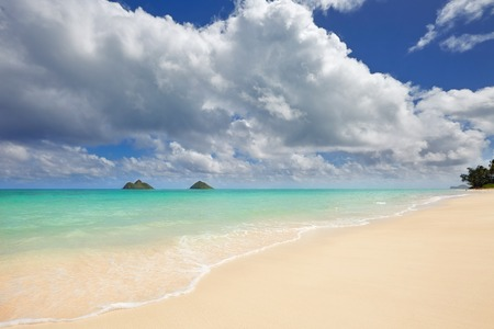 beach landscape: sandy Lanikai Beach and Mokulua Islands, Kailua, Oahu, Hawaii