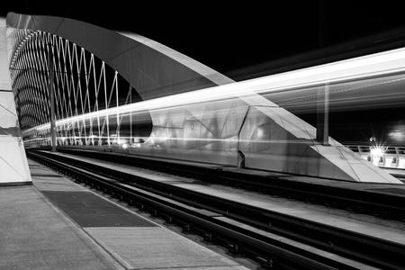 bowstring: night view of bowstring arch Troja bridge, Prague, Czech Republic Stock Photo