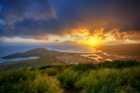 diamond head: aerial view of Hanauma Bay and Diamond Head at sunset from a top of Koko Head Crater, Oahu, Hawaii, USA Stock Photo
