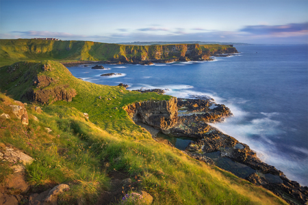 view on Portnaboe bay and North Antrim Cliff from Great Stookan along the Giants Causeway, County Antrim, Northern Ireland, UK