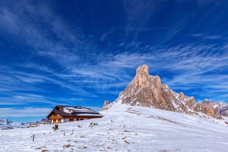 winter landscape of Passo Giau, Dolomites, Italy