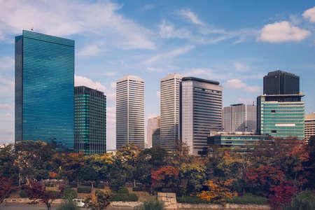 Autumn skyline of Osaka Business Park, viewed from Osaka Castle Park, Osaka, Japan Reklamní fotografie