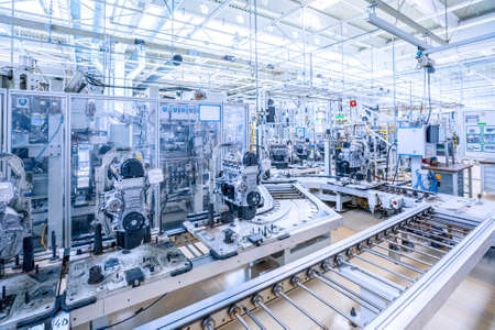 manufacturing of car engine at car plant