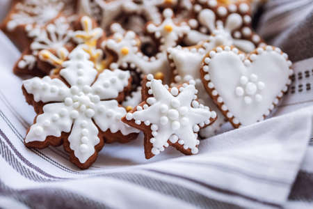 A bunch of gingerbread cookies on napkin